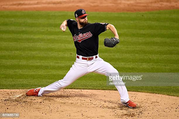 Corey Kluber of the Cleveland Indians pitches in the third inning against the Chicago Cubs in Game Seven of the 2016 World Series at Progressive...