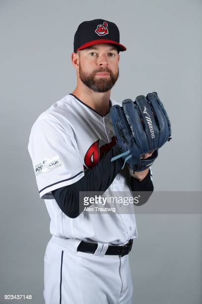 Corey Kluber of the Cleveland Indians poses during Photo Day on Wednesday February 21 2018 at Goodyear Ballpark in Goodyear Arizona