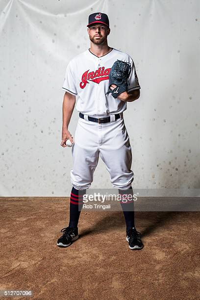 Corey Kluber of the Cleveland Indians poses for a portrait during photo day at the Cleveland Indians Development Complex on February 27 2016 in...