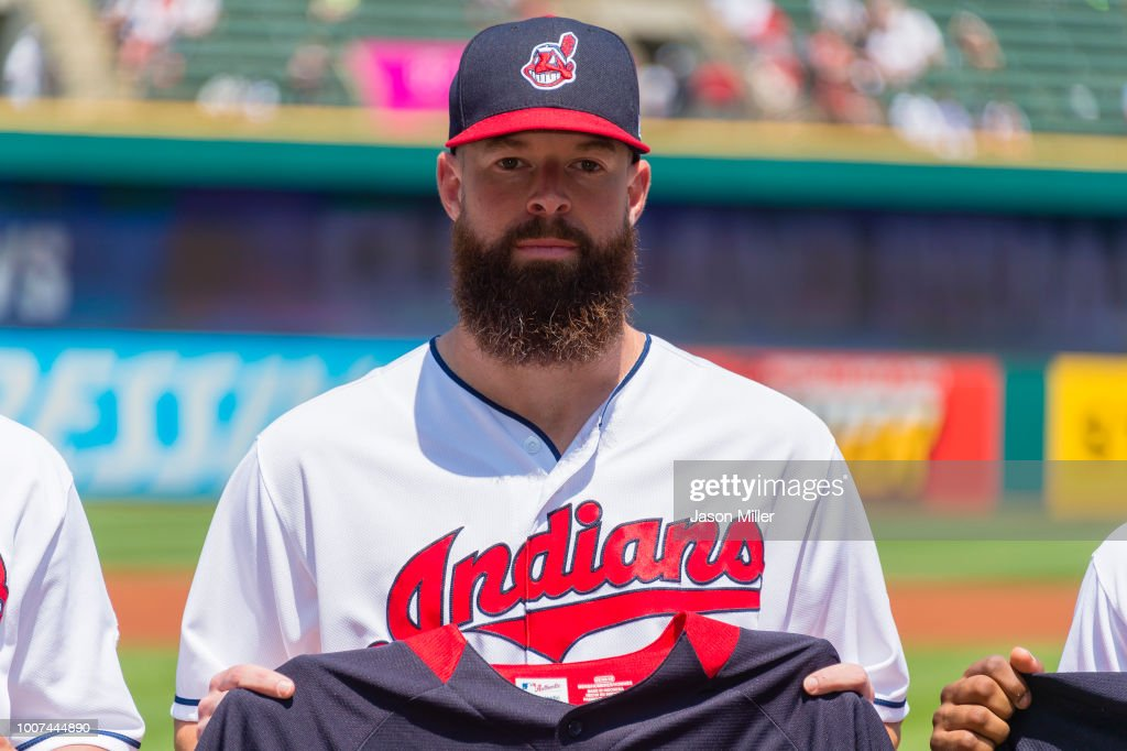 Corey Kluber #28 of the Cleveland Indians poses with their All-Start uniforms prior to the game against the New York Yankees at Progressive Field on July 15, 2018 in Cleveland, Ohio.