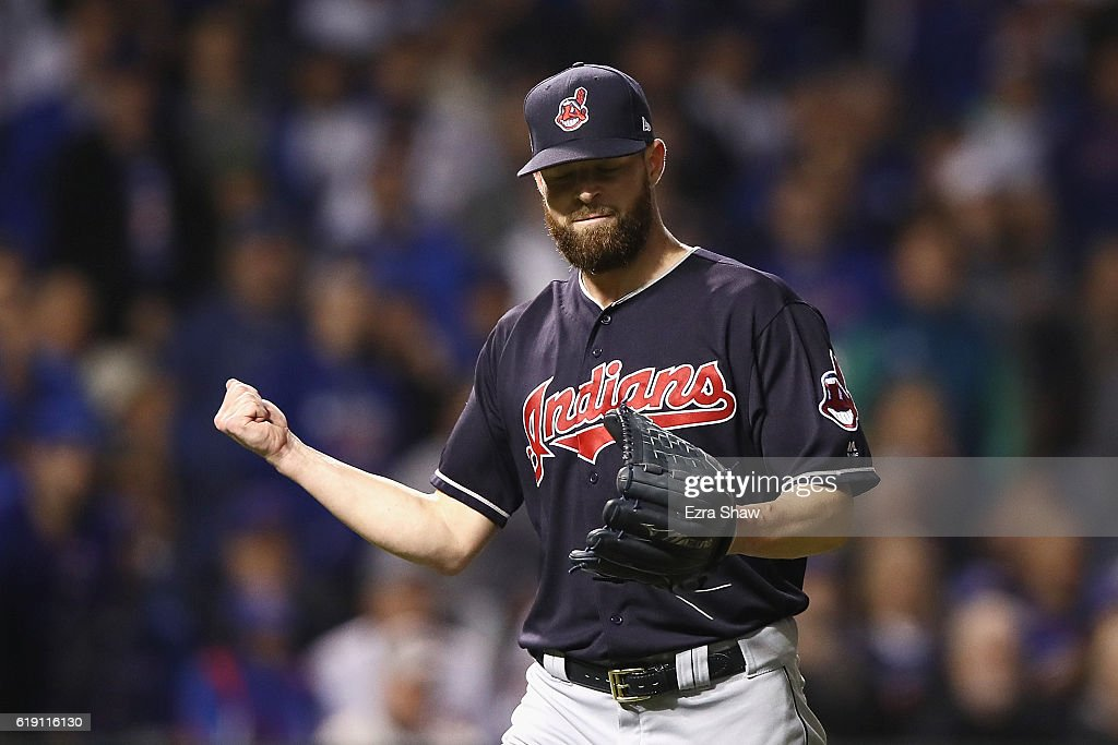 Corey Kluber #28 of the Cleveland Indians reacts after the second inning against the Chicago Cubs in Game Four of the 2016 World Series at Wrigley Field on October 29, 2016 in Chicago, Illinois.