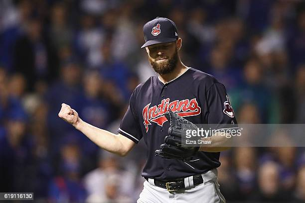 Corey Kluber of the Cleveland Indians reacts after the second inning against the Chicago Cubs in Game Four of the 2016 World Series at Wrigley Field...