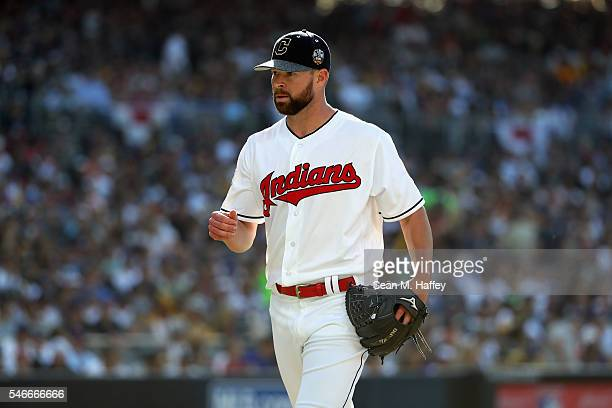 Corey Kluber of the Cleveland Indians reacts during the 87th Annual MLB AllStar Game at PETCO Park on July 12 2016 in San Diego California