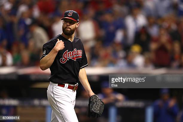 Corey Kluber of the Cleveland Indians reacts during the fourth inning against the Chicago Cubs in Game Seven of the 2016 World Series at Progressive...