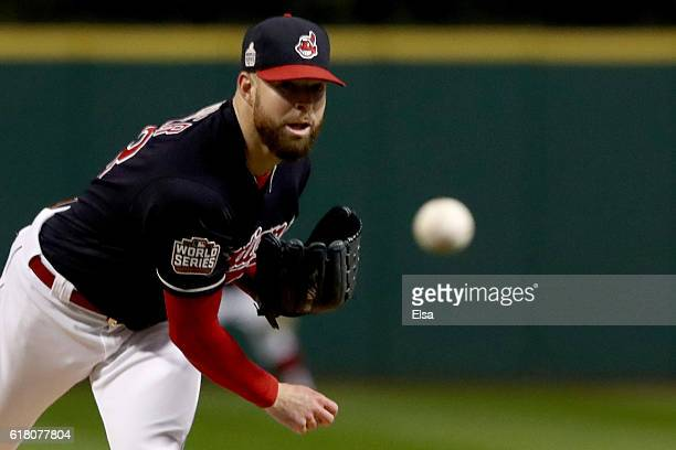 Corey Kluber of the Cleveland Indians throws a pitch against the Chicago Cubs during the first inning in Game One of the 2016 World Series at...