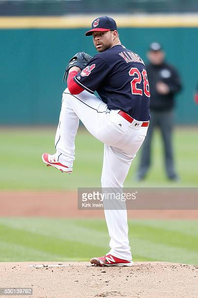 Corey Kluber of the Cleveland Indians throws a pitch during the game against the Detroit Tigers at Progressive Field on May 4 2016 in Cleveland Ohio