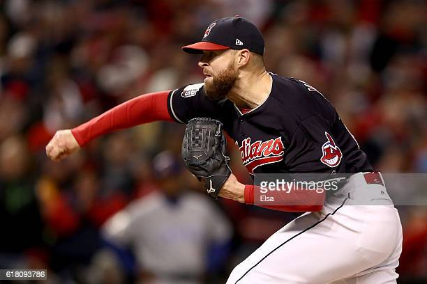 Corey Kluber of the Cleveland Indians throws a pitch during the sixth inning against the Chicago Cubs in Game One of the 2016 World Series at...