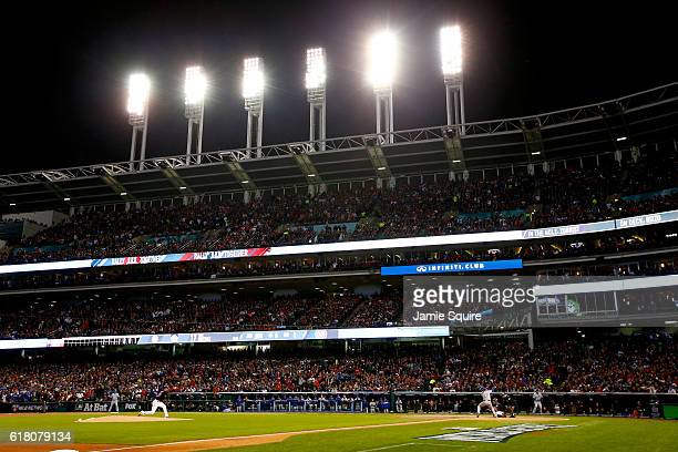 Corey Kluber of the Cleveland Indians throws a pitch to Kris Bryant of the Chicago Cubs during the first inning in Game One of the 2016 World Series...
