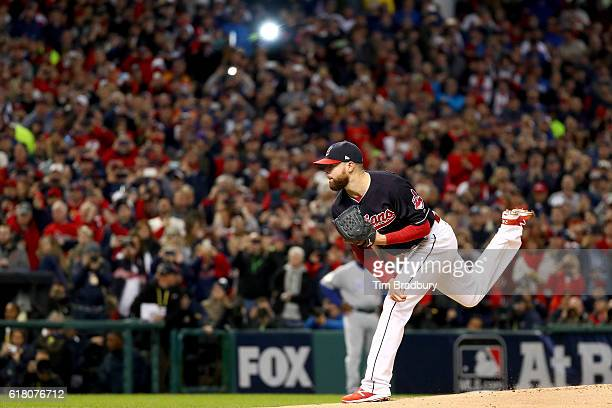 Corey Kluber of the Cleveland Indians throws the first pitch against the Chicago Cubs during the first inning in Game One of the 2016 World Series at...