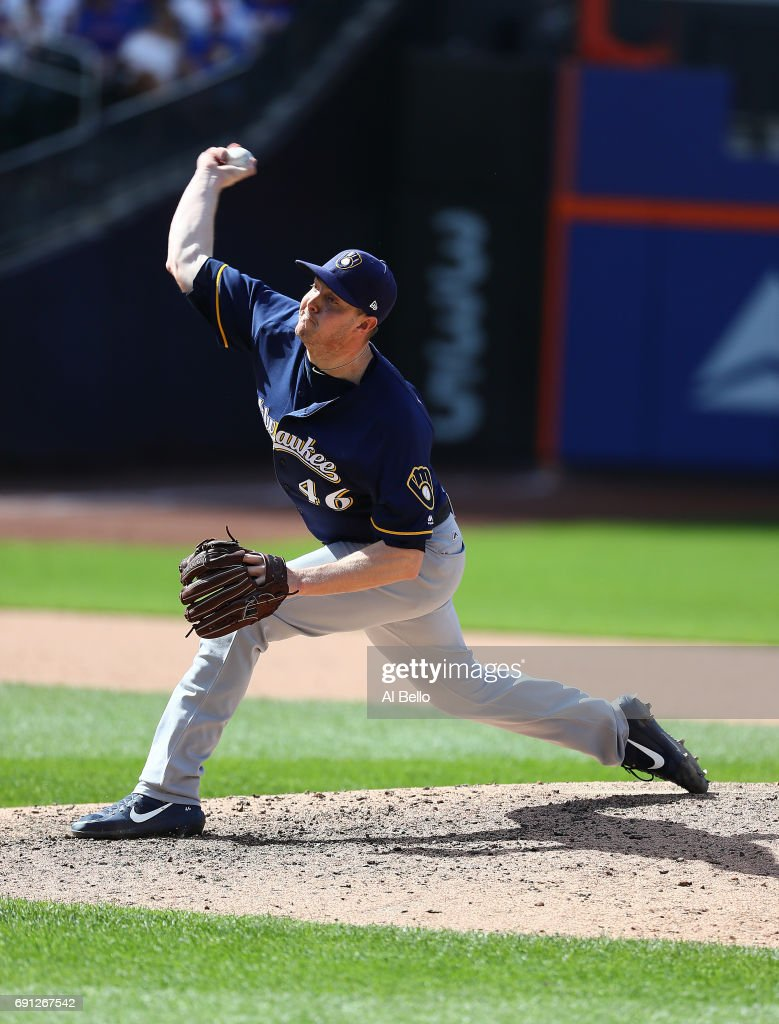 Corey Knebel #46 of the Milwaukee Brewers pitches against the New York Mets in the ninth inning during their game at Citi Field on June 1, 2017 in New York City.