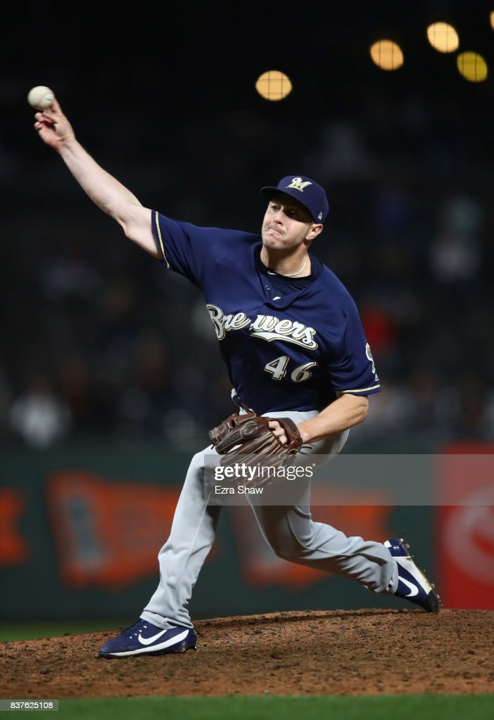 Corey Knebel #46 of the Milwaukee Brewers pitches against the San Francisco Giants in the ninth inning at AT&T Park on August 22, 2017 in San Francisco, California.