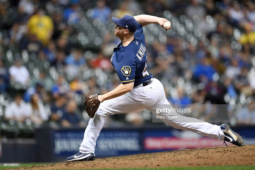 Corey Knebel #46 of the Milwaukee Brewers throws a pitch during the ninth inning of a game against the Cincinnati Reds at Miller Park on September 26, 2017 in Milwaukee, Wisconsin.