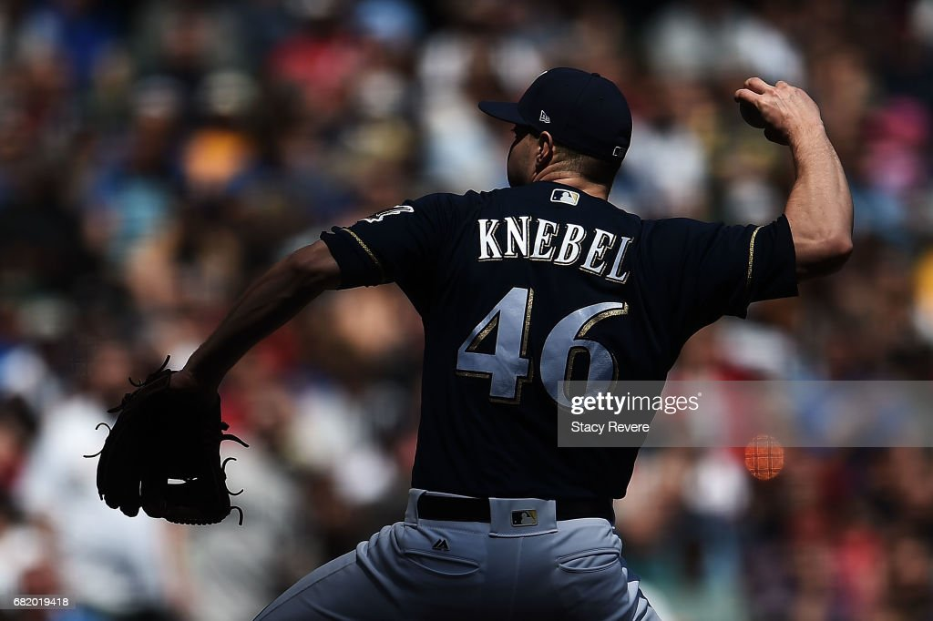 Corey Knebel #46 of the Milwaukee Brewers throws a pitch during the seventh inning of a game against the Boston Red Sox at Miller Park on May 11, 2017 in Milwaukee, Wisconsin.