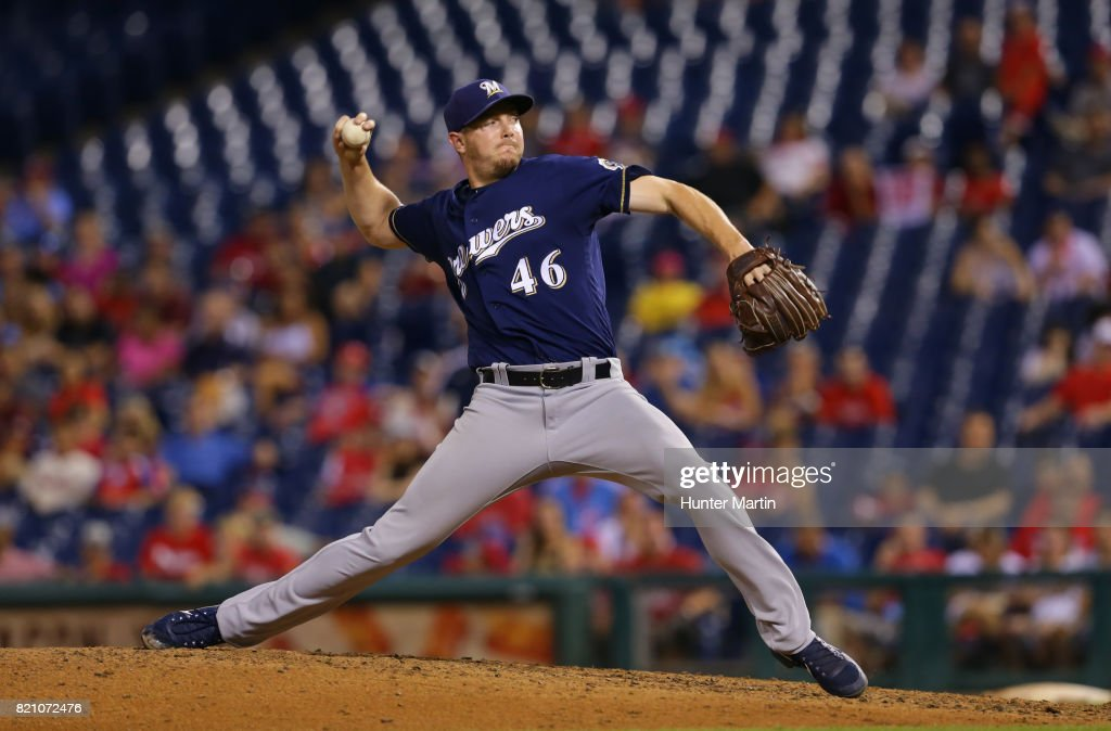 Corey Knebel #46 of the Milwaukee Brewers throws a pitch in the ninth inning during a game against the Philadelphia Phillies at Citizens Bank Park on July 22, 2017 in Philadelphia, Pennsylvania. The Brewers won 9-8.