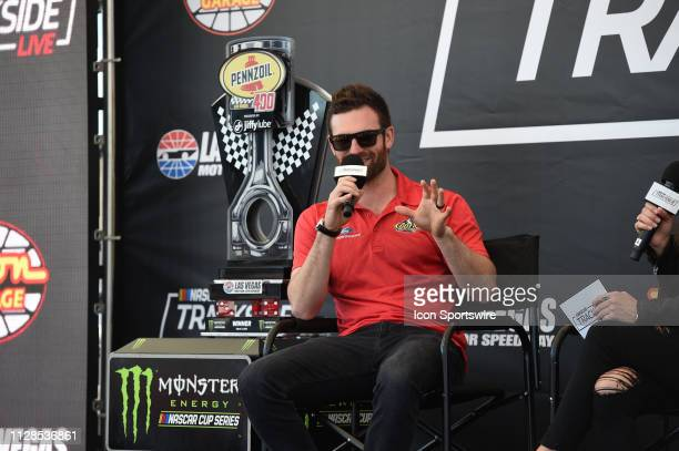 Corey LaJoie Archie St Hilaire Ford Mustang at the NSACAR Trackside Live stage in the Neon Garage before the Monster Energy NASCAR Cup Series...