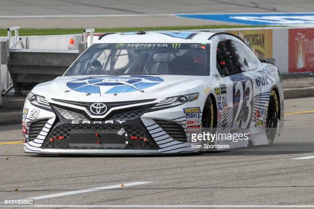 Corey LaJoie driver of the JAS Expedited Trucking Toyota enters pit road during the Monster Energy NASCAR Cup Series Pure Michigan 400 race on August...