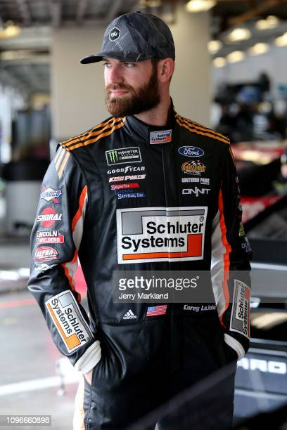 Corey LaJoie driver of the Old Spice Ford during practice for the Monster Energy NASCAR Cup Series 61st Annual Daytona 500 at Daytona International...