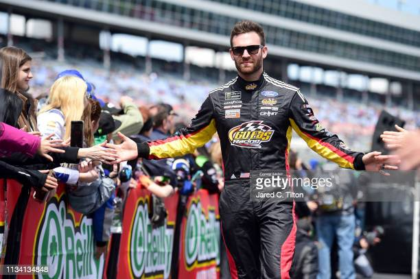 Corey LaJoie driver of the PROSPR Ford is introduced prior to the Monster Energy NASCAR Cup Series O'Reilly Auto Parts 500 at Texas Motor Speedway on...