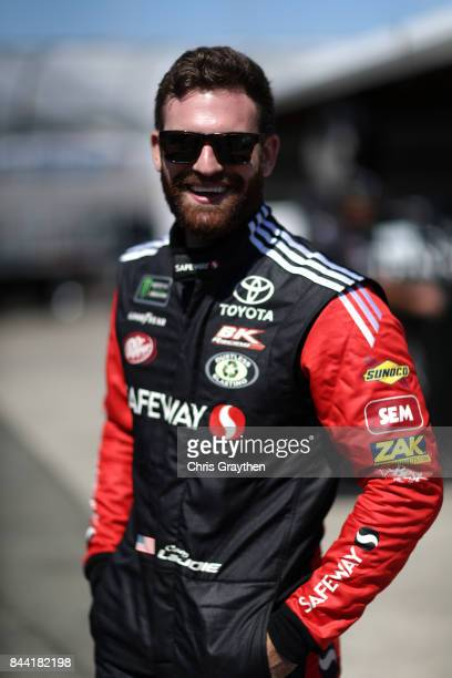 Corey LaJoie driver of the Safeway/LaBella Hair Design Toyota looks on from the garage area during Practice for the Monster Energy NASCAR Cup Series...