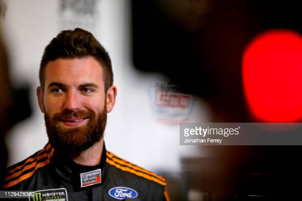 Corey LaJoie speaks to the media during the Monster Energy NASCAR Cup Series 61st Annual Daytona 500 Media Day at Daytona International Speedway on...