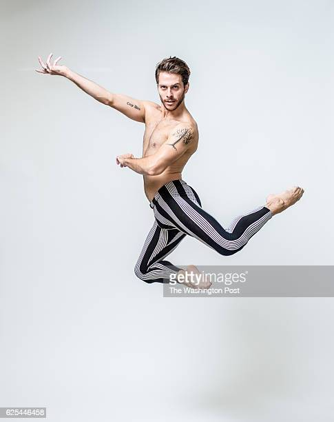 Corey Landolt a dancer from the Washington Ballet shows off his tattoos