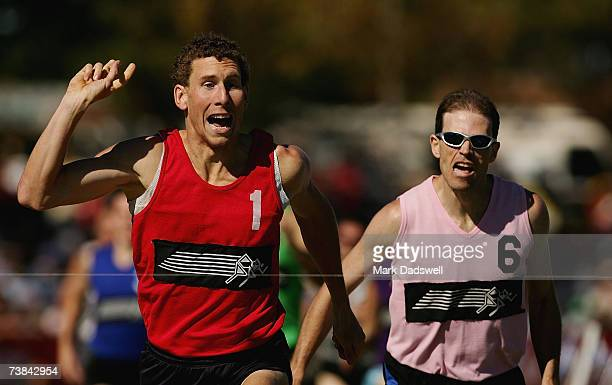 Corey Lawson wins the ACE Radio 800m Handicap final from Brendan Liddicoat during the 2007 Stawell Gift held at Central Park in Stawell on April 9...