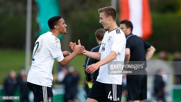Corey Lee Anton and Nico Schlotterbeck of Germany celebration after the international friendly match between U18 Germany and U18 Austria at...