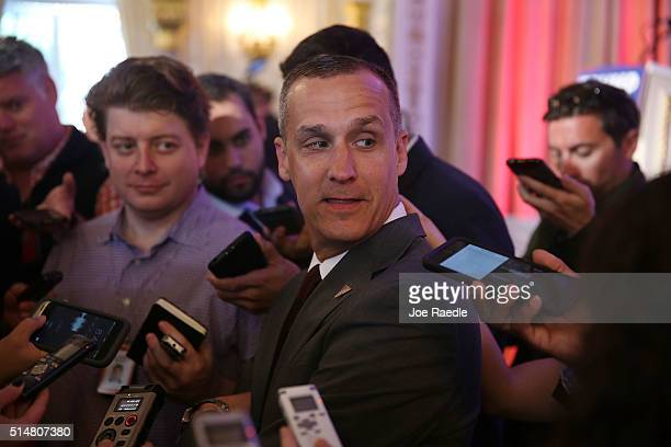 Corey Lewandowski campaign manager for Republican presidential candidate Donald Trump speaks with the media before former presidential candidate Ben...