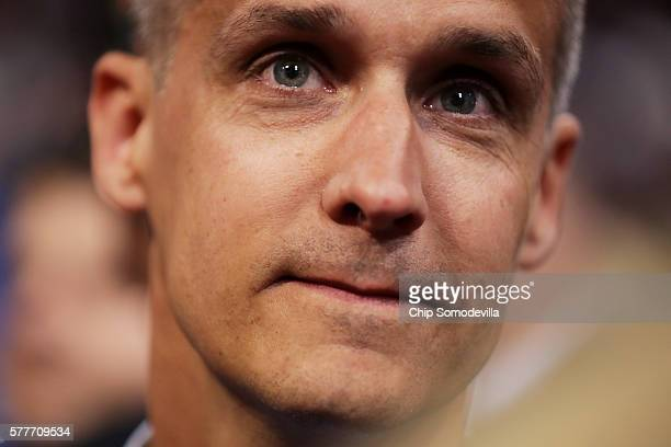 Corey Lewandowski former campaign manager for Donald Trump along with delegates from New Hampshire takes part in the roll call in support of...