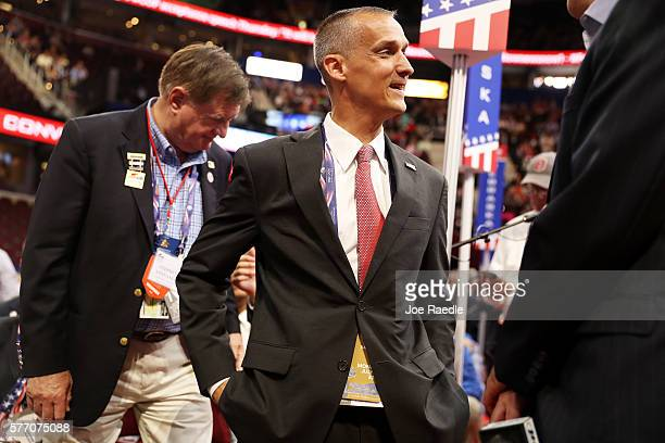 Corey Lewandowski former campaign manager for Donald Trump speaks with delegates on the first day of the Republican National Convention on July 18...