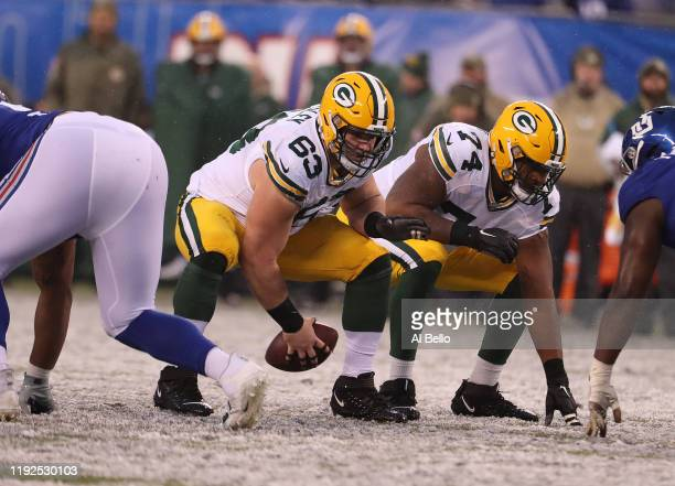 Corey Linsley of the Green Bay Packers in action against the New York Giants during their game at MetLife Stadium on December 01, 2019 in East...