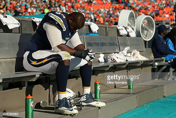 Corey Liuget of the San Diego Chargers looks on during a game against the San Diego Chargers at Sun Life Stadium on November 2 2014 in Miami Gardens...