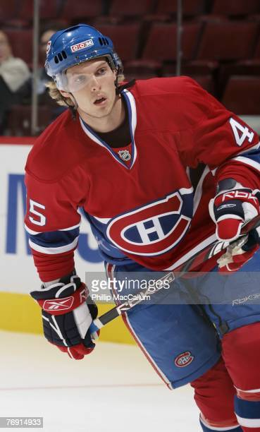 Corey Locke of the Montreal Canadiens skates against the Pittsburgh Penguins during a pre-season game on September 17, 2007 at the Bell Centre in...