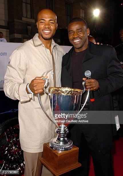 Corey Maggette and Michael Irvin during 2nd Annual Rollin'24 Deep GM AllCar Showdown Red Carpet at Paramount Studios in Los Angeles California United...