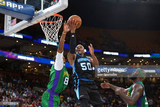 Corey Maggette of Power drives to the basket against Jamrio Moon of 3 Headed Monsters during week 7 of the BIG3 basketball league on August 3 at TD...