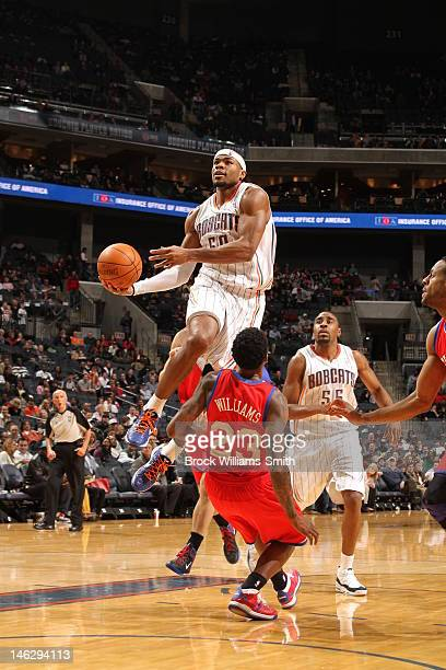 Corey Maggette of the Charlotte Bobcats drives to the basket against the Philadelphia 76ers during the game at the Time Warner Cable Arena on...