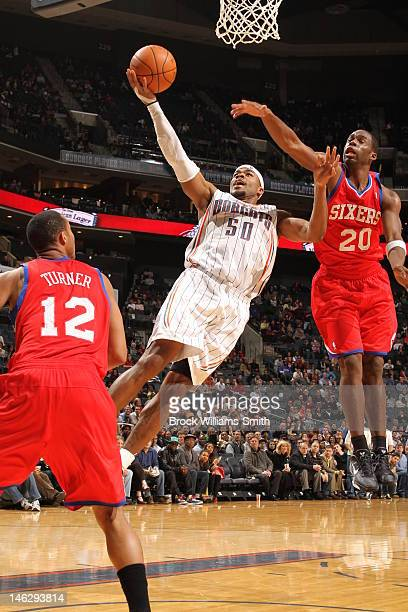 Corey Maggette of the Charlotte Bobcats goes for two against the Philadelphia 76ers during the game at the Time Warner Cable Arena on February 13...