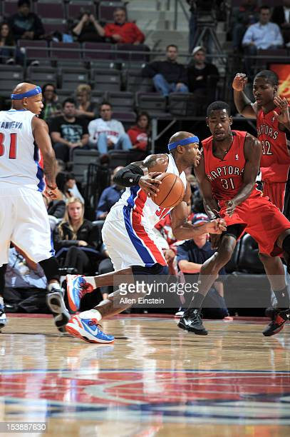 Corey Maggette of the Detroit Pistons drives during the game between the Detroit Pistons and the Toronto Raptors on October 10 2012 at The Palace of...