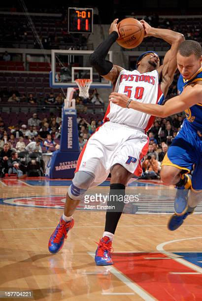Corey Maggette of the Detroit Pistons drives under pressure during the game between the Detroit Pistons and the Golden State Warriors on December 5...