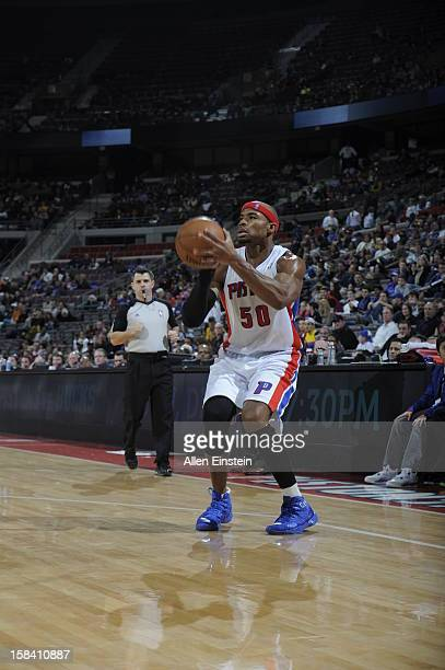 Corey Maggette of the Detroit Pistons sets up for the shot against the Indiana Pacers during the game on December 15 2012 at The Palace of Auburn...