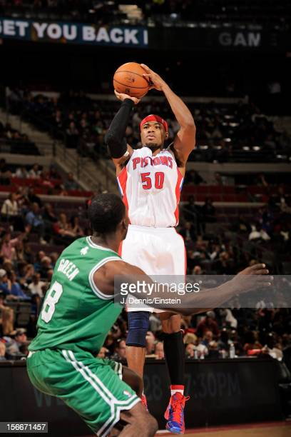 Corey Maggette of the Detroit Pistons shoots against the Boston Celtics on November 18 2012 at The Palace of Auburn Hills in Auburn Hills Michigan...