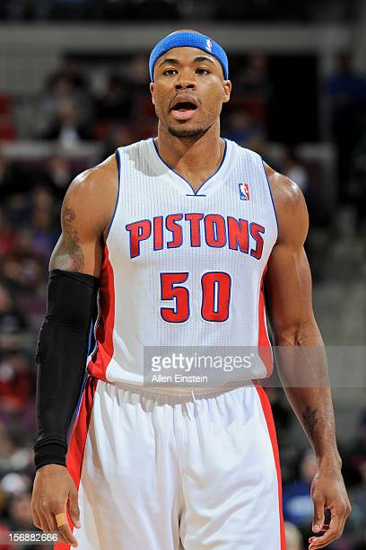 Corey Maggette of the Detroit Pistons waits to resume action against the Toronto Raptors on November 23 2012 at The Palace of Auburn Hills in Auburn...