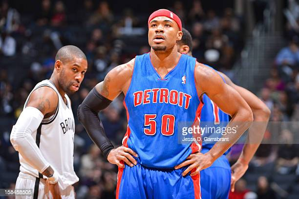 Corey Maggette of the Detroit Pistons waits to resume action against the Brooklyn Nets at the Barclays Center on December 14 2012 in the Brooklyn...