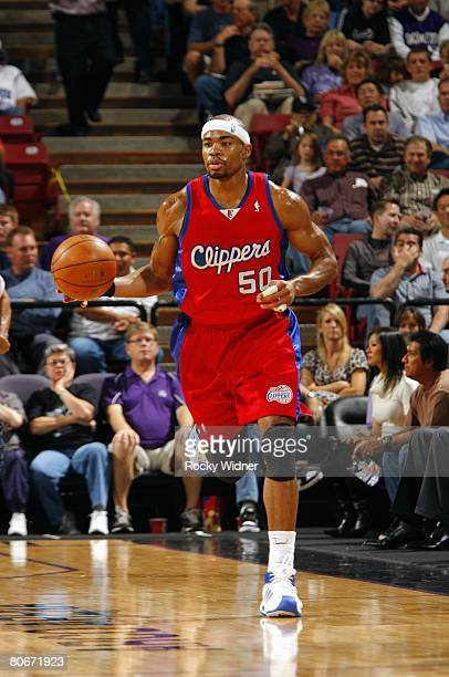 Corey Maggette of the Los Angeles Clippers dribbles against the Sacramento Kings during the game at ARCO Arena on April 3 2008 in Sacramento...