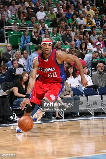 Corey Maggette of the Los Angeles Clippers drives the ball at EnergySolutions Arena on March 28 2008 in Salt Lake City Utah NOTE TO USER User...