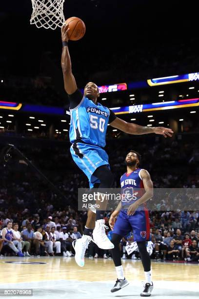 Corey Maggette of the Power drives to the basket against Xavier Silas of TriState during week one of the BIG3 three on three basketball league at...
