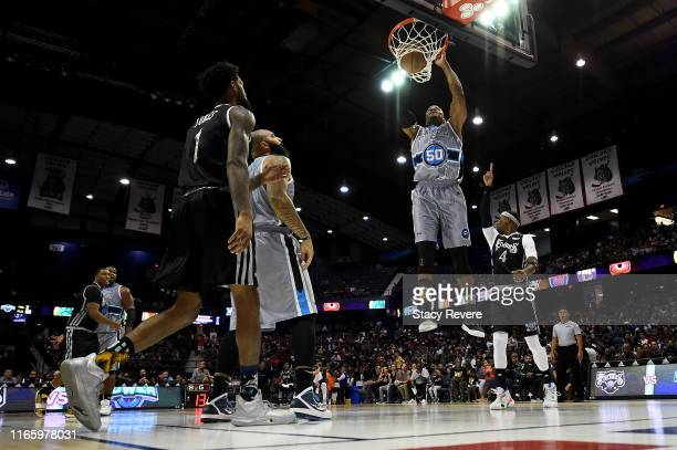 Corey Maggette of the Power dunks the ball in the first half against the Enemies during week seven of the BIG3 three on three basketball league at...