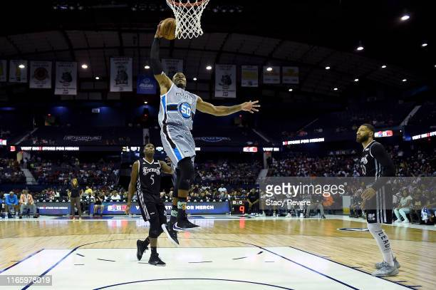 Corey Maggette of the Power dunks the ball in the second half against the Enemies during week seven of the BIG3 three on three basketball league at...