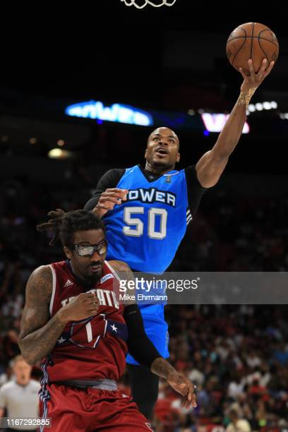 Corey Maggette of the Power shoots over Amar'e Stoudemire of Tri-State during week eight of the BIG3 three on three basketball league at...