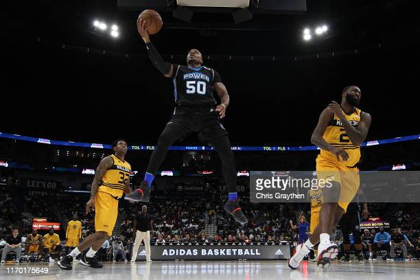 Corey Maggette of the Power shoots the ball over Donte Greene of the Killer 3s during the BIG3 Playoffs at Smoothie King Center on August 25, 2019 in...